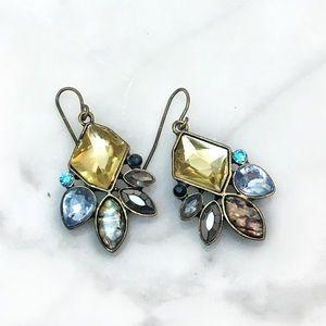 Cherryl's Jewelry - Yellow Multi Crystal Cluster Drop Dangle Earrings
